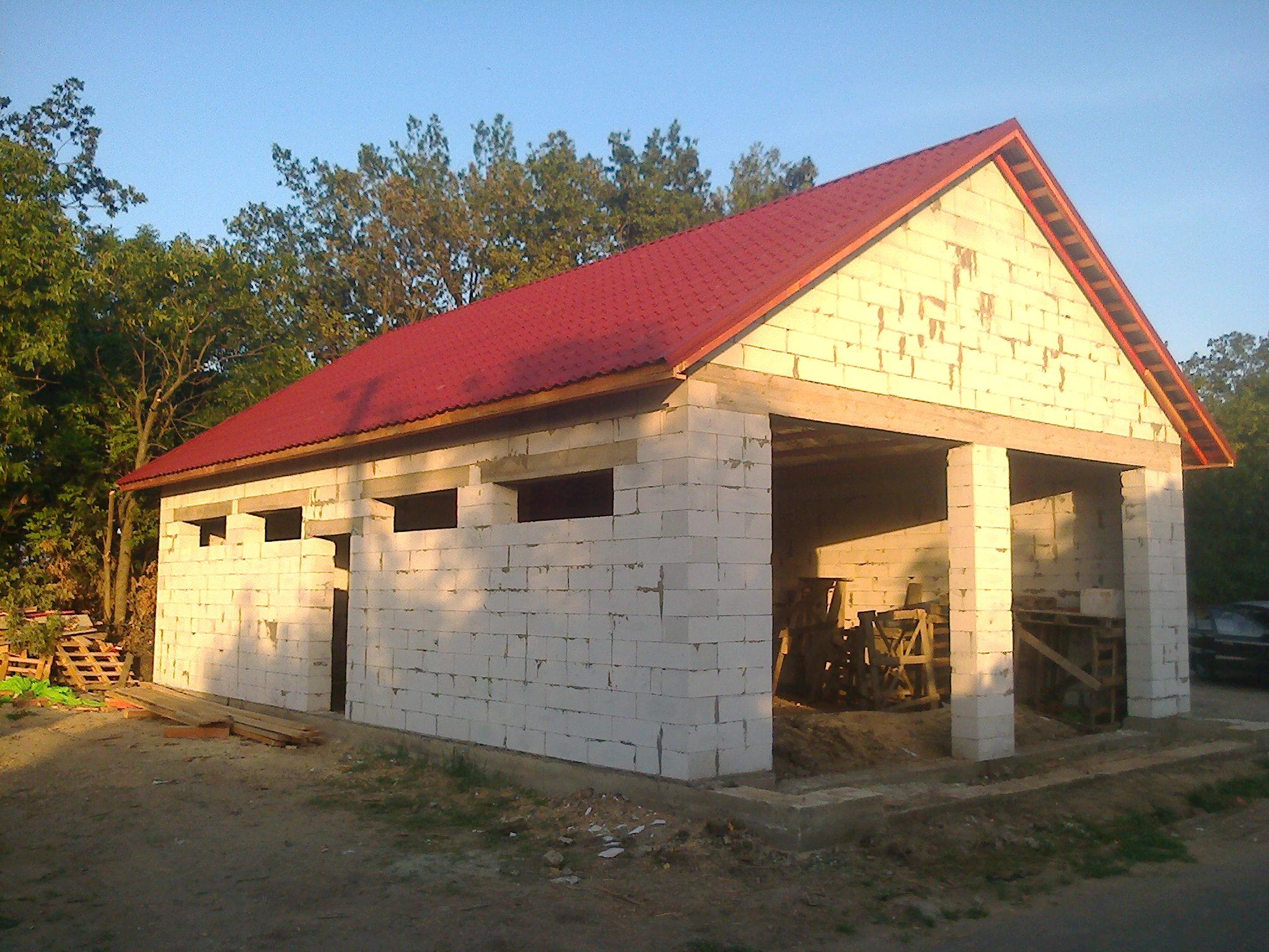 Крыша Гараж из газобетона своими руками