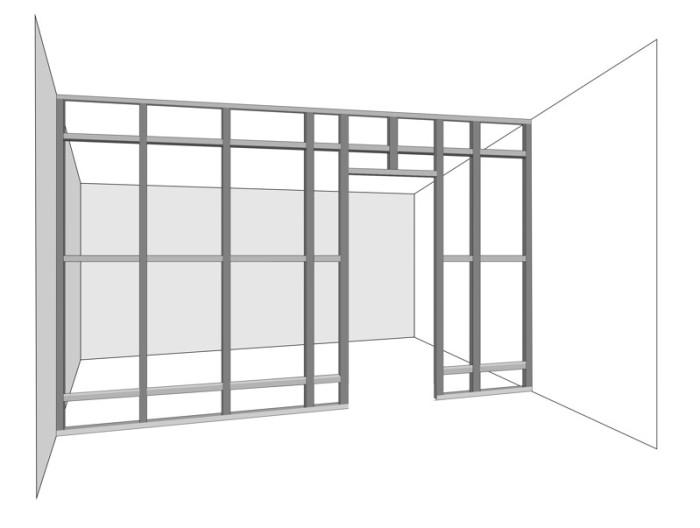 Рассмотрим, как осуществляется монтаж стены из гипсокартона своими руками: