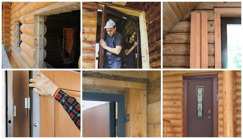 Как провести монтаж двери в деревянном доме