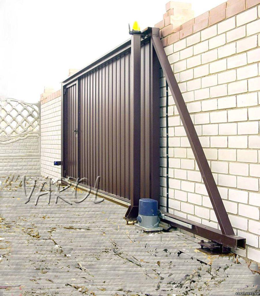 Откатные ворота на консоли