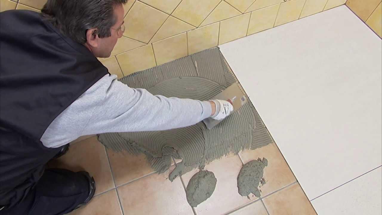 Укладка плитки на пол своими руками, видео.