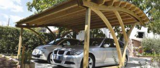 Деревянный навес для автомобиля