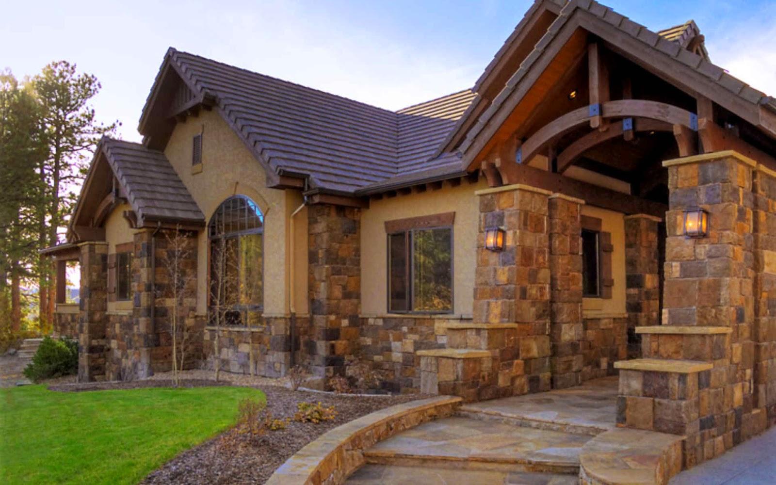 Дизайн природным камнем доме